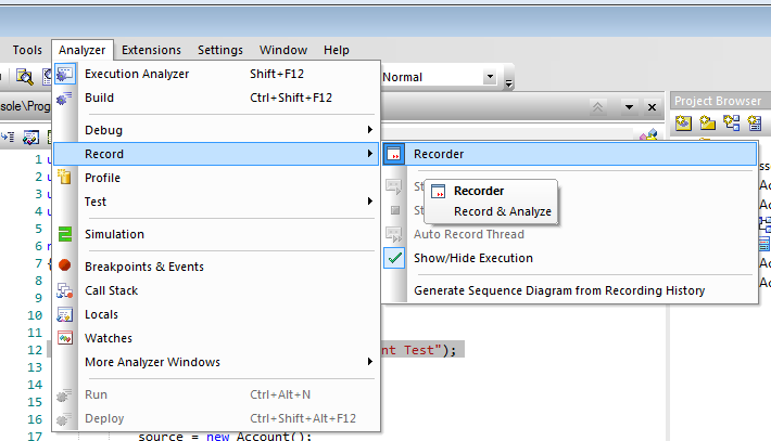 "tutorial   nunit and sequence diagram recording in enterprise    in the ""record and analyze"" toolbar hit the recording button   now a sequence diagram will be recorded in the selected package"